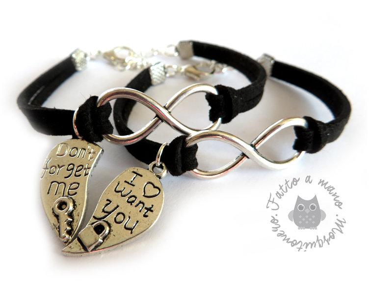 Bracciale infinito per la coppia color argento cuore spezzato chiave e lucchetto con scritta incisa