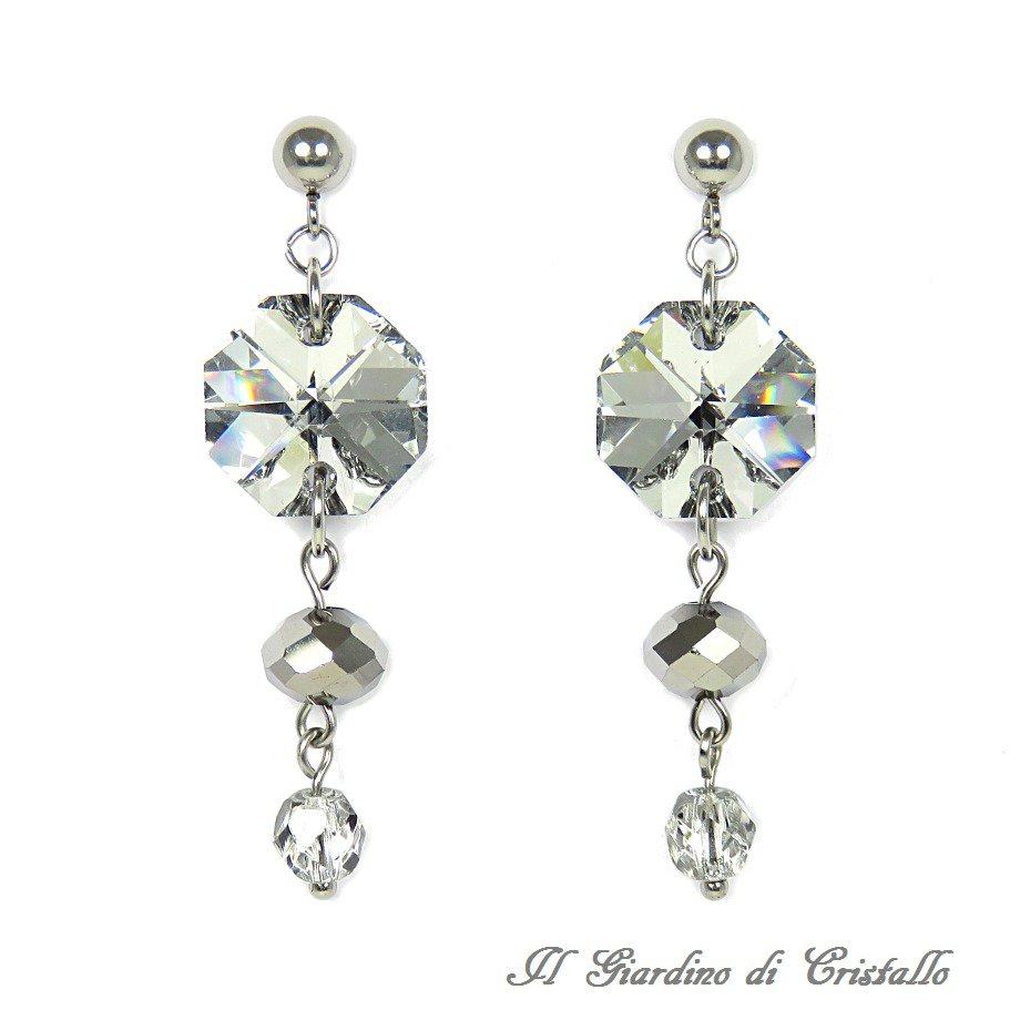 Orecchini pendenti in acciaio con ottagoni cristallo argento fatti a mano - Amaryllis