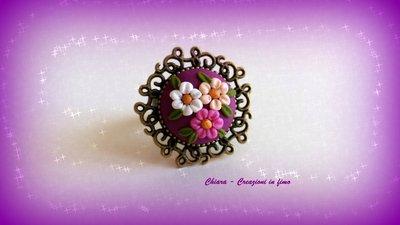 Novità! Anello in fimo elegante handmade bordeaux con fiori in rilievo Idee regalo donna
