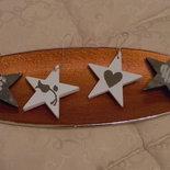 Coppia di stelle in legno shabby chic
