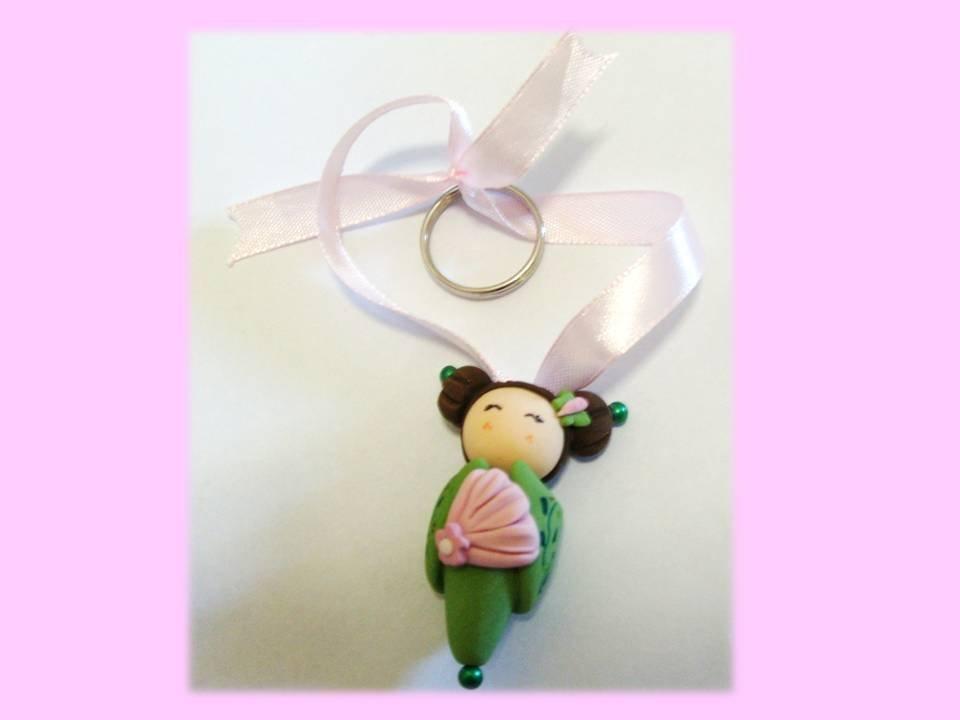 kokeshi doll pink-green