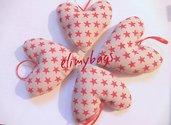 Cuori di stoffa con stelline rosse stile country fatto a mano♥