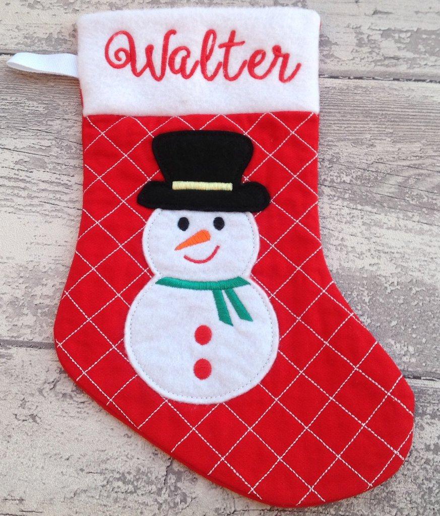 Calza Natale Befana personalizzata con nome - Lungh.cm.29 - Pupazzo di neve