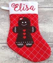 Calza Natale Befana personalizzata con nome - Lungh.cm. 29 - Gingerbread