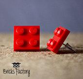 Orecchini LEGO originali a lobo rossi piatti