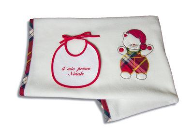 """Set regalo Natale! copertina culla in morbido pile e bavetta """"il mio primo Natale"""""""