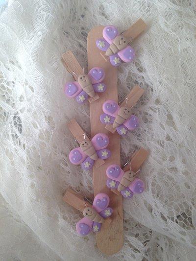 Mollette chiudipacco in legno con farfalla realizzata a mano in pasta FIMO