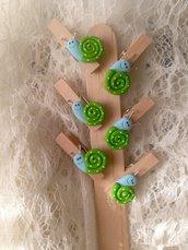 Mollette chiudipacco in legno con lumachina realizzata a mano in pasta FIMO