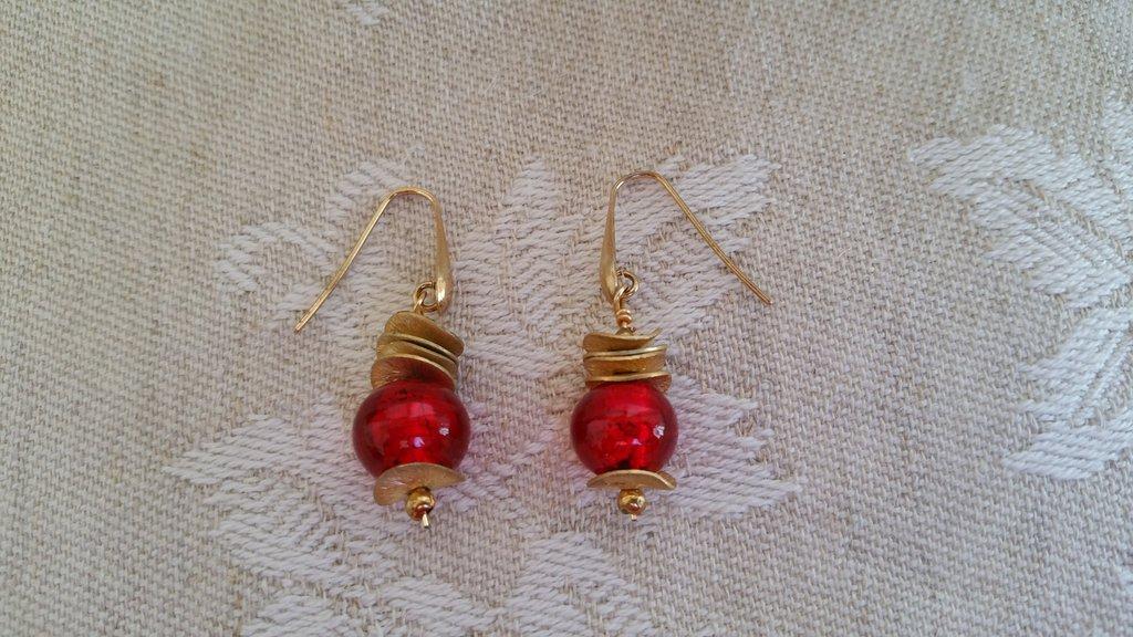 Orecchini oro/ rosso