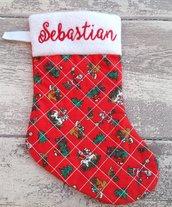 Calza Natale Befana personalizzata con nome  - Lungh.cm.25 - (rb)