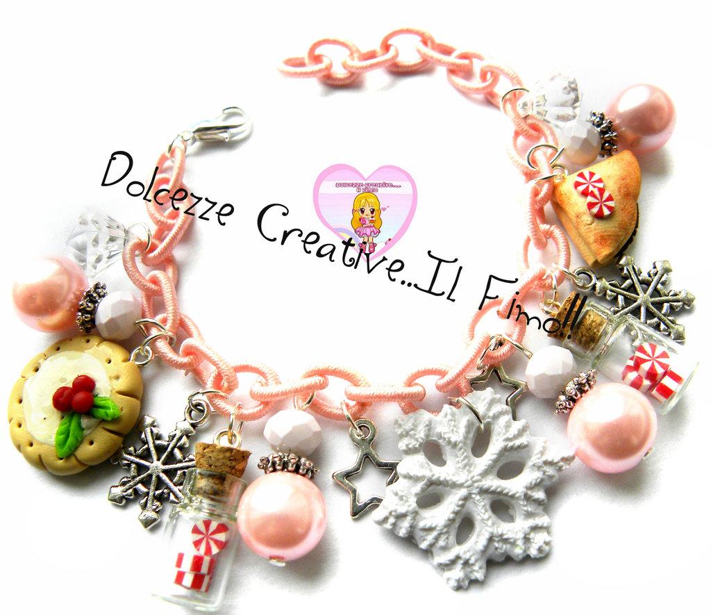 ☃ Natale In Dolcezze 2015 ☃ Bracciale Natalizio - kawaii Cookie - Agrifoglio - fiocco di neve e crepes