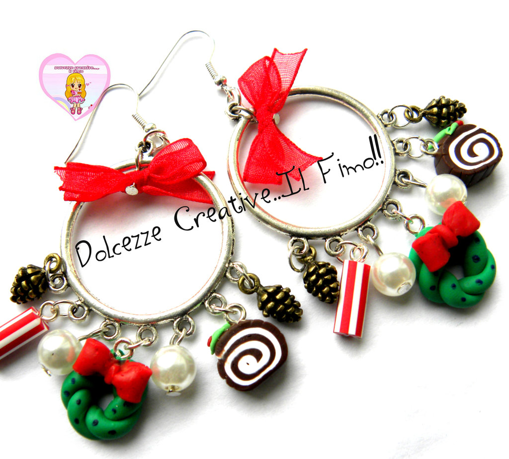 ☃ Natale In Dolcezze 2015 ☃ Orecchini a cerchio - Maxi - Con fioco, ghirlanda, perle, pigne e caramelle