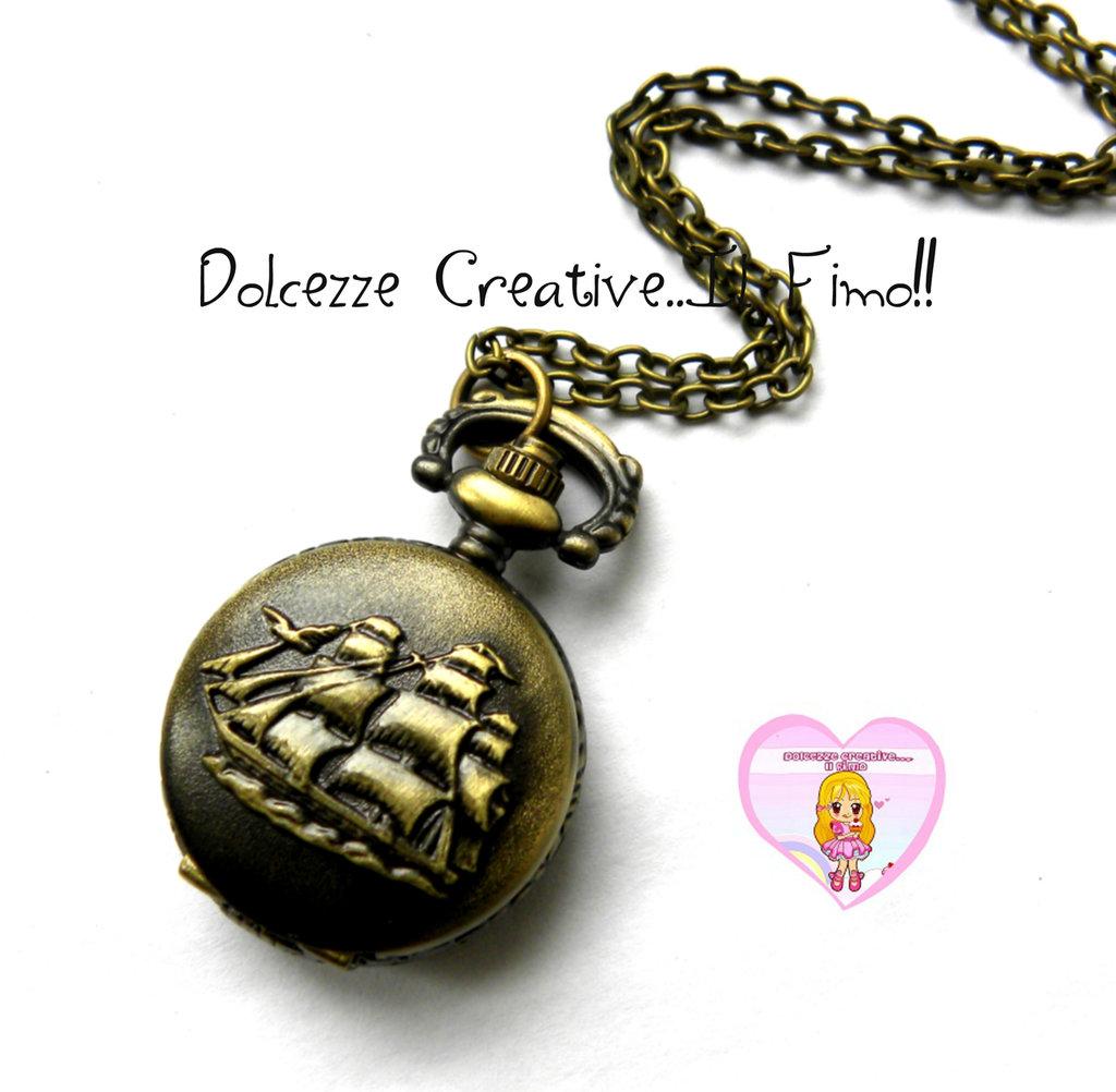 Orologio stile vintage - Kawaii - Idea regalo - Rotondo con nave -  Vascello