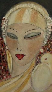 """Quadro ad olio rappresentante volto femminile ispirato all'art deco anni 20/30 """"femme fatale"""""""