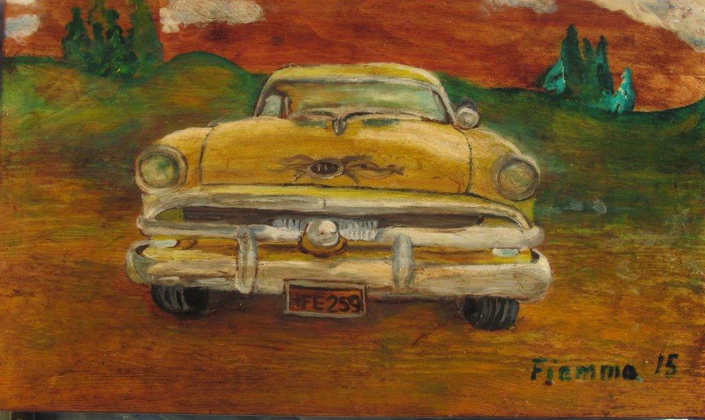 quadro ad olio auto americana anni 50 - Cuba Taxi 1