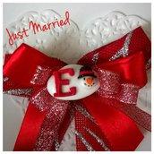 fiocco segnaposto con confetto decorato natalizio