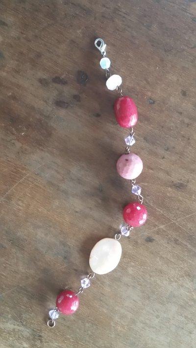 braccialetto   in pietre dure rosa e svarowsky