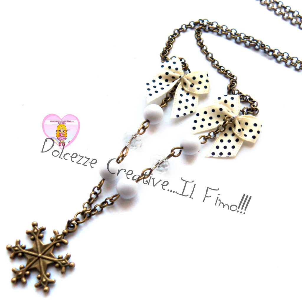 ☃ Natale In Dolcezze 2015 ☃ Collana fiocco di neve tonalità bronzo con perle e fiocchi