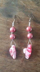 orecchini pendenti pietre e madreperla rosa