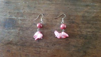 orecchini pietra madreperla rosa