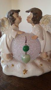 orecchini con pietra verde e cuore in vetro verde