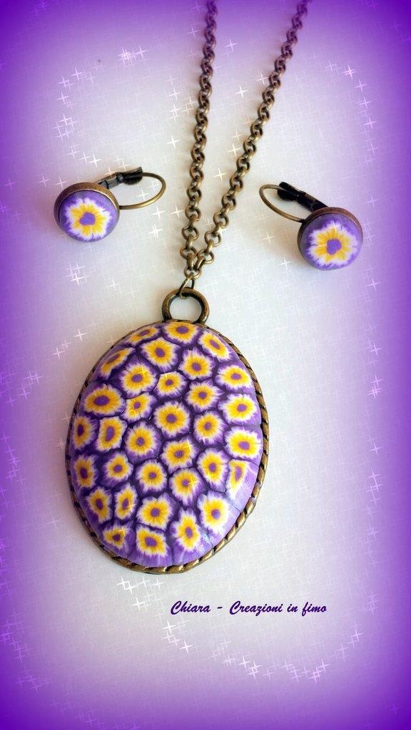 Parure con ciondolo e orecchini eleganti in fimo handmade viola giallo idee regalo donna