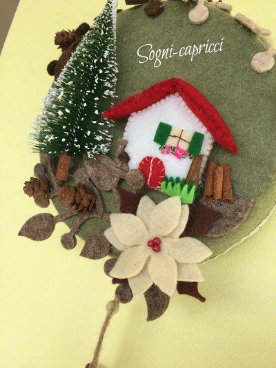 Dietro porta ghirlanda idea regalo con abete casetta stella d su misshobby - Ghirlanda porta natale ...