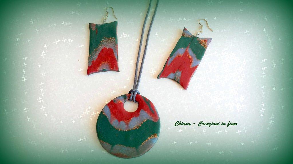 Parure con ciondolo e orecchini in fimo handmade natalizia Idee regalo Natale