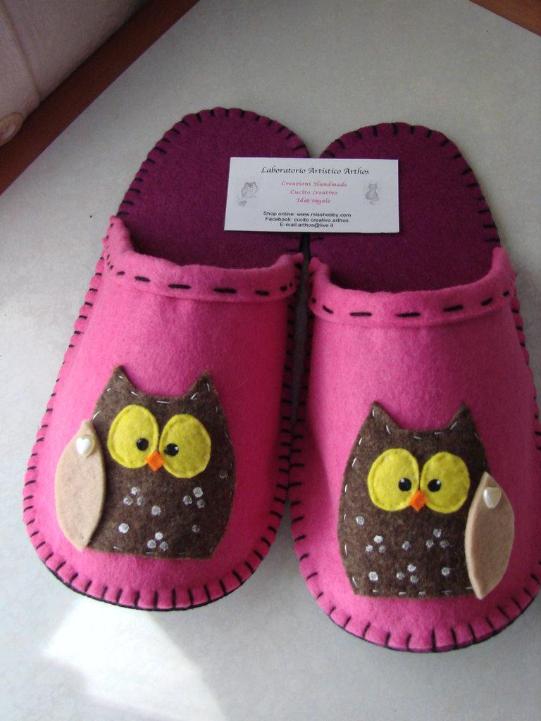 Gufo pantofole ciabatte n 38 39 in feltro fuxia fatte a for Pantofole natalizie