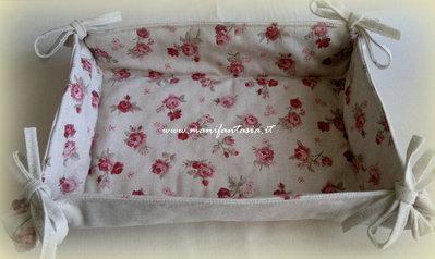 cestino di stoffa portapane roselline reversibile