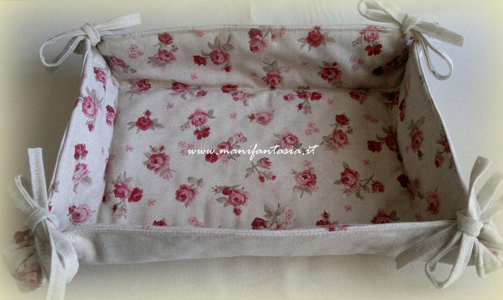 Super cestino di stoffa portapane roselline reversibile - Per la casa e  BC38