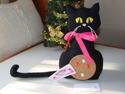 Gatto nero portafortuna porta messaggi memo pupazzo - Porta messaggi ...