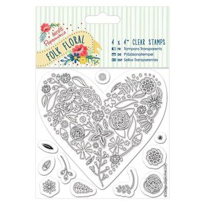 Clear Stamp (11pcs) - Folk Floral - Heart