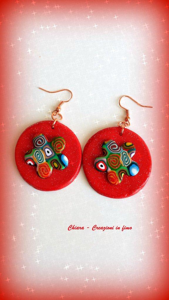 Novità! Orecchini in fimo eleganti handmade natalizi rossi Idea regalo Natale