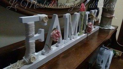 Scritta family in legno per la casa e per te decorare for Scritta home in legno
