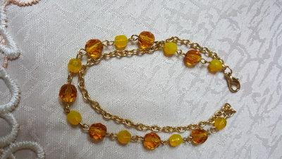 bracciale dorato doppio con catena e mezzi cristalli topaz e quarzo citrino