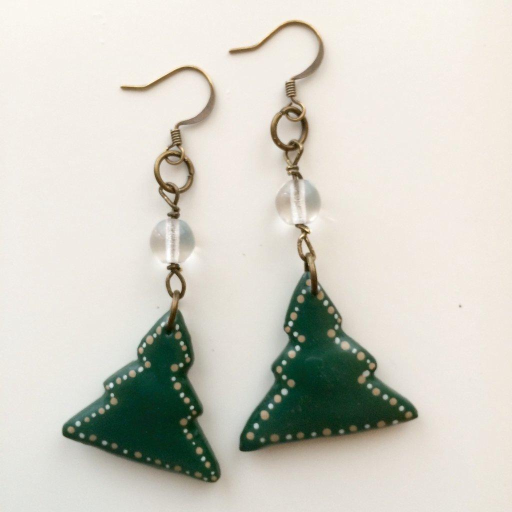 Orecchini alberi di Natale con perla vetro trasparente