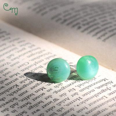 Orecchini con bottone vintage verde - O.38.2015