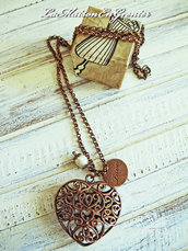 collana ciondolo cuore con perla