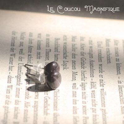 Orecchini con bottone vintage grigio - O.40.2015