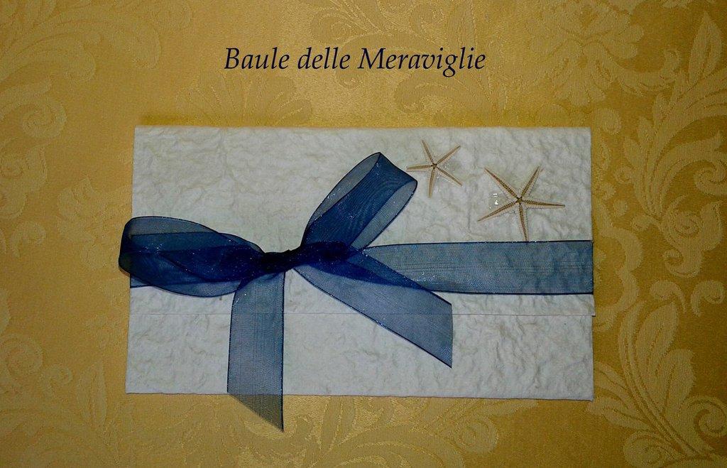 Partecipazione nozze tema Mare in carta cotone