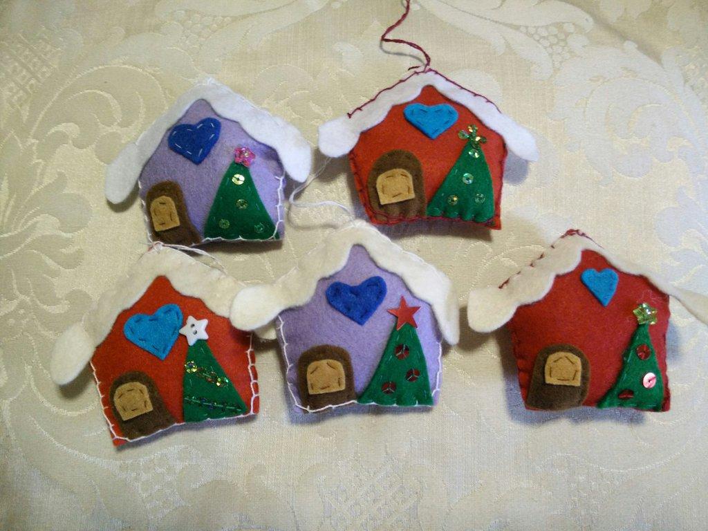 2 Cassette in pannolenci, addobbo natalizio