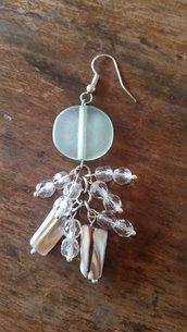 orecchini con pietra verde madreperla e cristalli