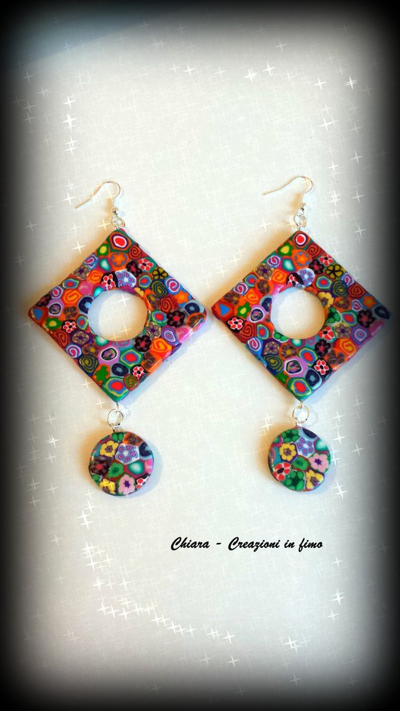 Orecchini in fimo eleganti handmade multicolore con lavorazione a murrine Idee regalo donna