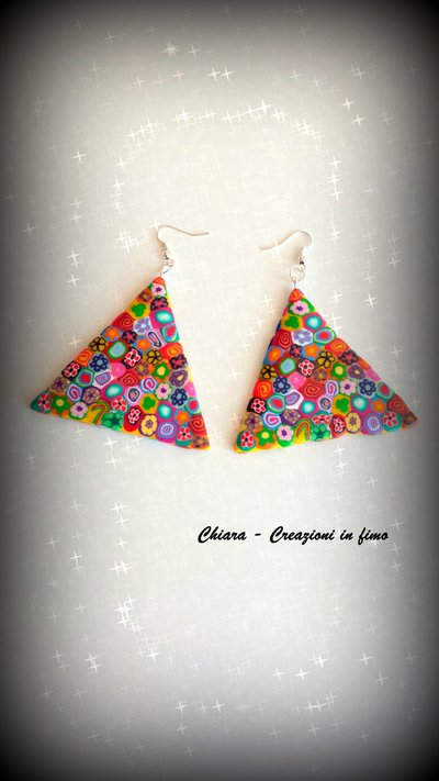 Orecchini in fimo eleganti handmade multicolore idee regalo donna