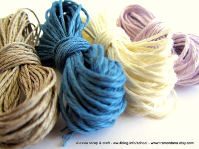 filato di lino per collane e bijoux - 20 mt. per 4 colori (corda + bianco + azzurro + lilla) - SPESE DI SPEDIZIONE GRATIS