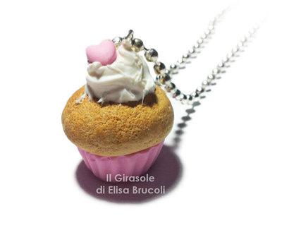 Collana cupcake kawaii rosa pastello in fimo
