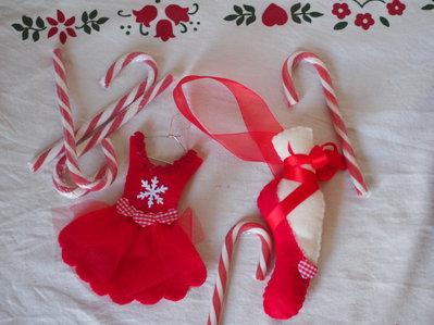 Decorazioni Natalizie Ballerine.Scarpa Da Ballerina Feltro Rosso Fatta A Mano Decorazione Natalizia