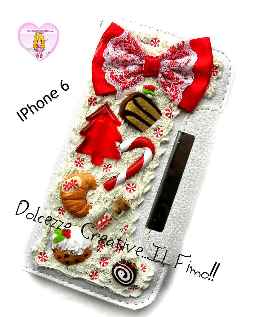 ☃ Natale In Dolcezze 2015 ☃Cover Iphone 6 / 6s -a LIBRO Cover Fiocco - Torta, albero di natale, caramelle, cookie, cornetto