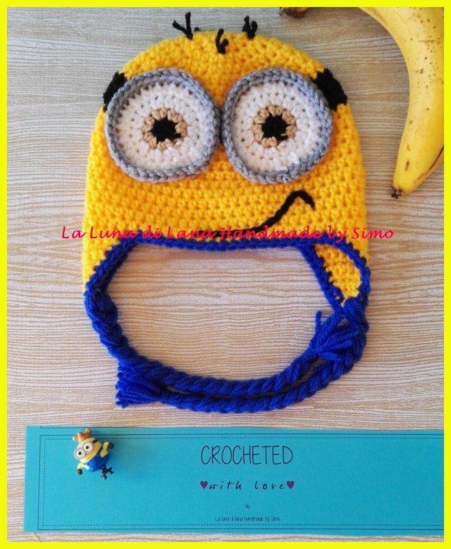 Cappellino ad uncinetto a forma di Minions per bambino o bambina cc7e5b835022